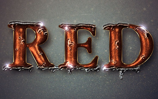 Glittering Red and Melting Ice Text Effect