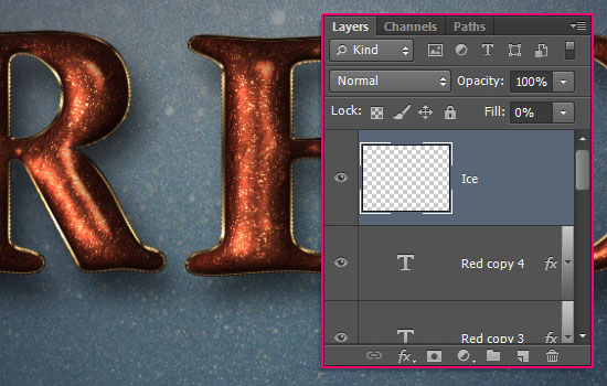 Glittering Red and Melting Ice Text Effect step 9