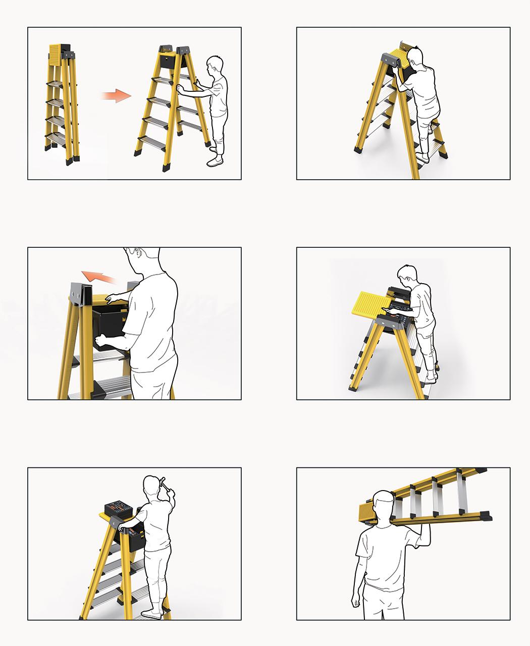 创意梯子设计自带工具箱