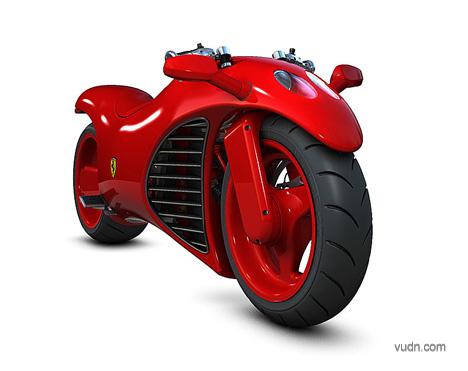 创意法拉利摩托车设计,造型酷炫技术爆表的典范设计