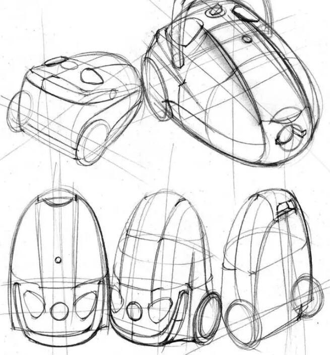 工业设计手绘教学,教你绘制一组吸尘器