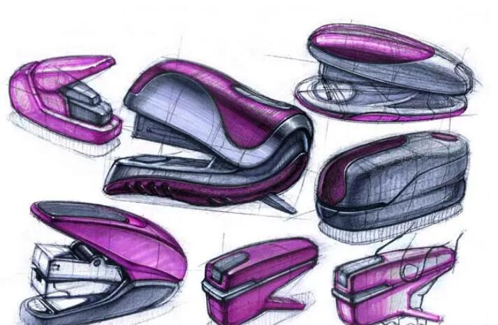 工业设计手绘教程,教你绘制订书器手绘步骤图片